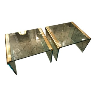 Waterfall Brass & Glass Tables - A Pair