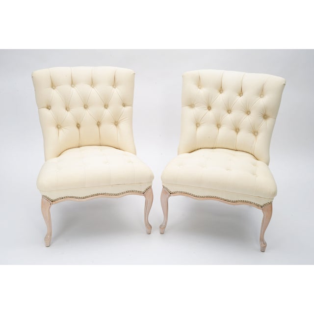 Image of Reupholstered Vintage Slipper Chairs - A Pair