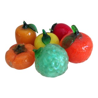 Handmade Italian Glass Fruit - Set of 6