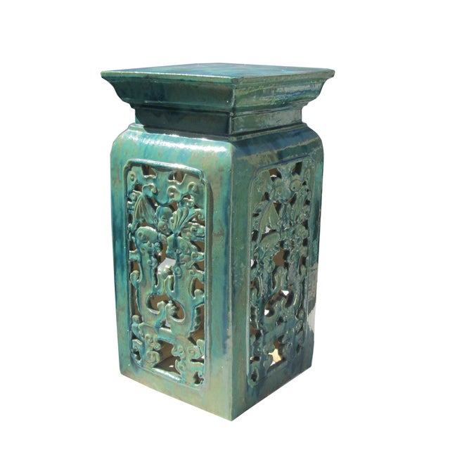 Chinese Clay Turquoise Green Square Pedestal Stand - Image 3 of 6