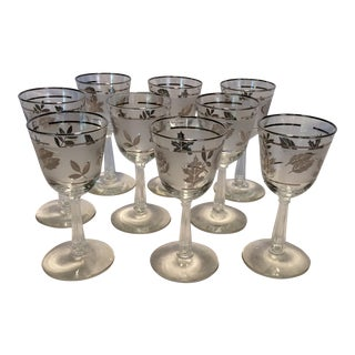 9 Mid-Century Modern Libbey Silver Leaf Frosted Wine Glasses