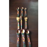 Image of Mexican Wooden Spoon Rack With 9 Utensils - S/10