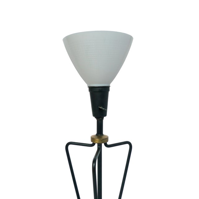 Jacques Adnet-Style Black & Brass Floor Lamp - Image 3 of 8