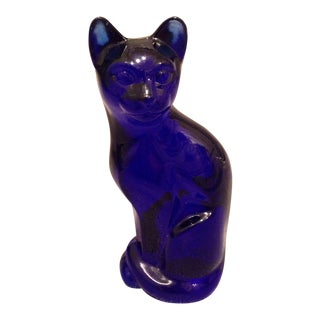 Fenton Art Glass Blue Cat