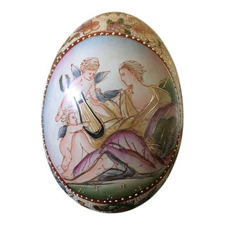 Hand Painted Porcelain God & Angel Motif Egg