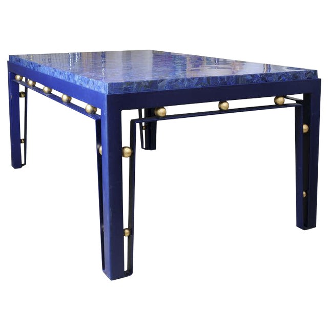 Important Iron Library Table with Lapis Lazuli Top in the Manner of Royere - Image 1 of 8