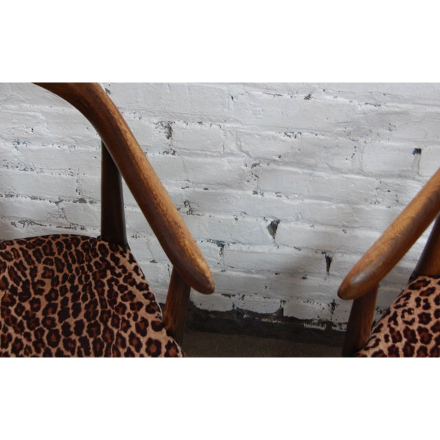 Image of Mid-century Modern Leopard Arm Chairs - A Pair