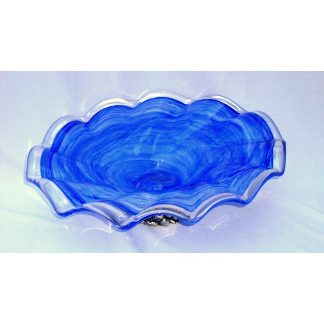 Deco Gothic Murano Blue Silver Wavy Glass Bowl - Image 3 of 10