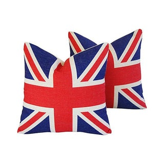 British Union Jack Linen Pillows - A Pair