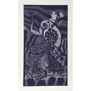 """Manuel Izqueirdo, """"Spanish Dancer (Blue),"""" Woodcut"""