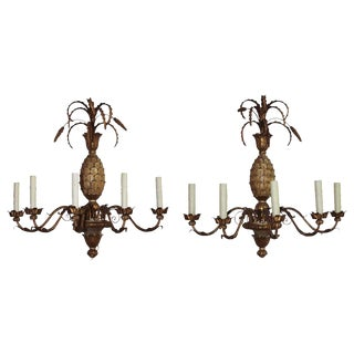 Pair of Pineapple Wood Sconce