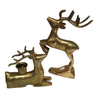 Vintage Brass Reindeer Candle Holders - a Pair