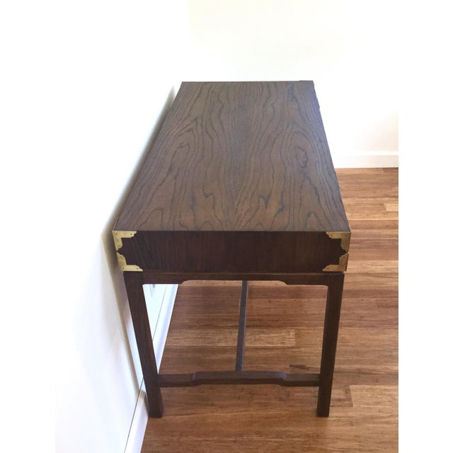 Asian Style Burl Drawers Campaign Desk - Image 4 of 8