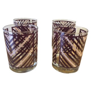 Georges Briard Chevron Patterne Glasses - Set of 4