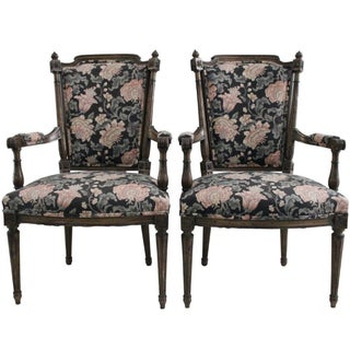 Walnut & Tapestry Armchairs - A Pair
