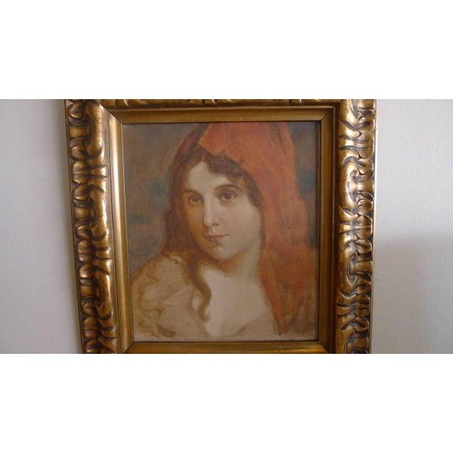 Image of Antique Oil Portrait of a Woman