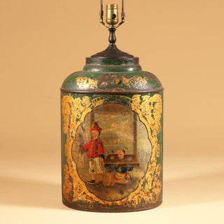 Green Tole Tea Canister with Chinoiserie Scene