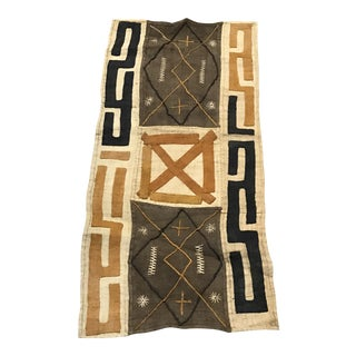 "African Tribal Art Handwoven Kuba Cloth Panel from DRC - 18.5"" x 39.25"""