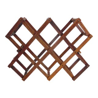 Vintage Wooden Moroccan Accordion Wine Rack