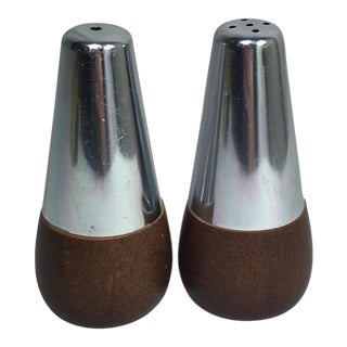 Mid-Century Modern Walnut & Chrome Salt & Pepper Shakers