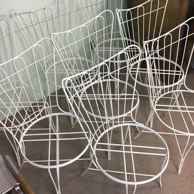 Salterini Wrought Iron Patio Chairs - Set of 8 - Image 4 of 6