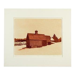 "Alleyne Howell ""1880"" Barn Etching"