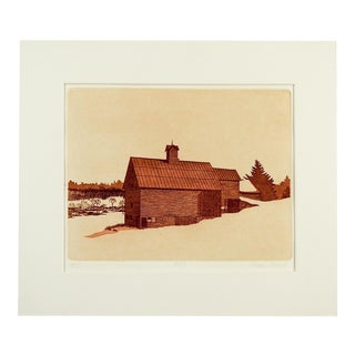 "Alleyne Howell ""1880"" Barn Etching"