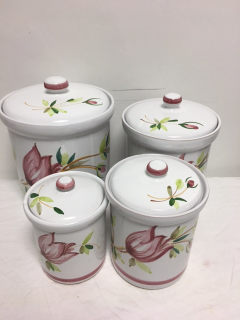 terracotta kitchen accessories vintage painted terracotta canisters set of 4 2696