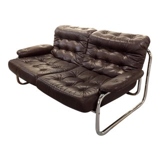 Mid-Century Leather & Tubular Chrome Loveseat