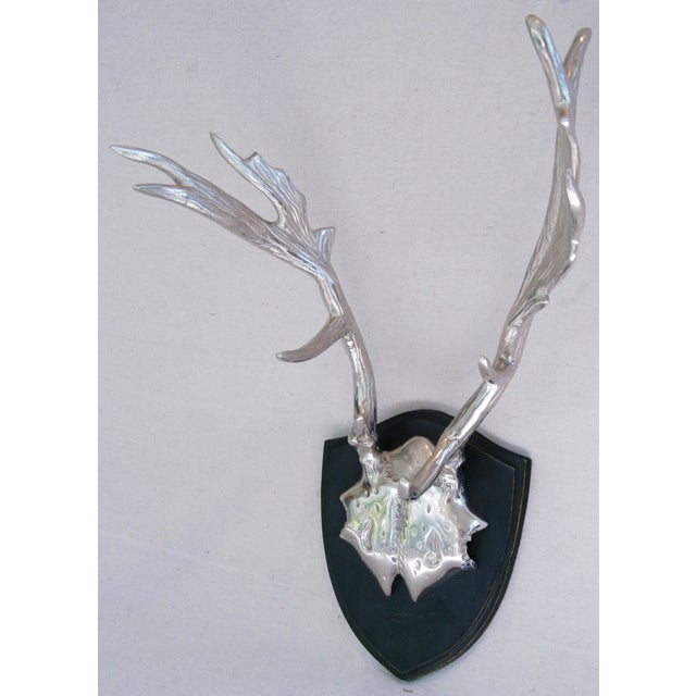 Faux Mounted Stainless Steel Deer Trophy Antlers - Image 3 of 7