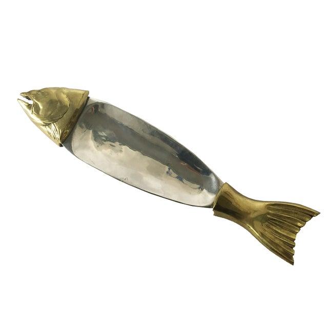 Brass chrome salmon fish serving platter chairish for Fish serving platter