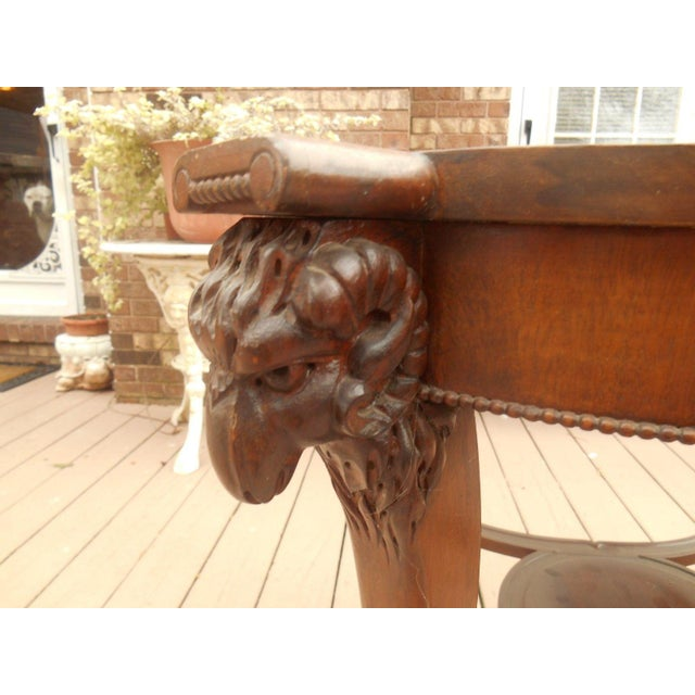 Antique Victorian Gothic Carved Rams Head Table - Image 6 of 7