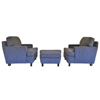 Edward Wormley Lounge Chairs & Ottoman - Set of 3