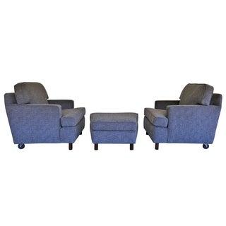 Edward Wormley Lounge Chairs & Ottoman - Set of 3