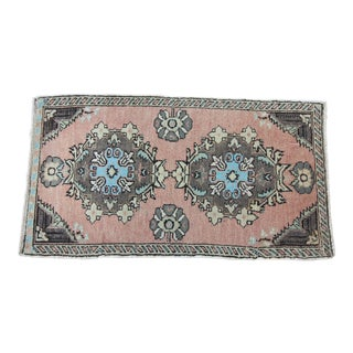 "Vintage Turkish Oushak Rug - 1'8"" x 3'1"""