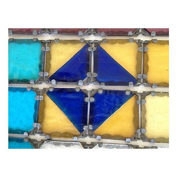 Image of Antique French Stained Glass Window Panel