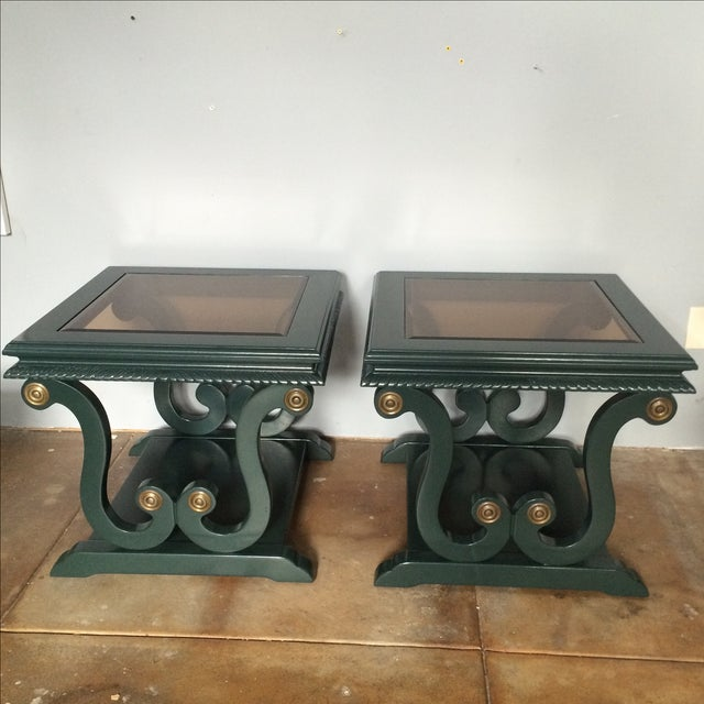 Harp-Shape Lacquer Side Tables - A Pair - Image 2 of 9