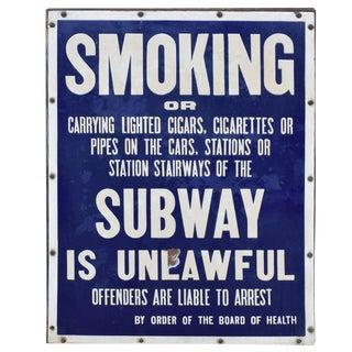 New York City Subway No Smoking Sign