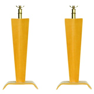 Pair of Mid-Century Bent Plywood Table Lamps