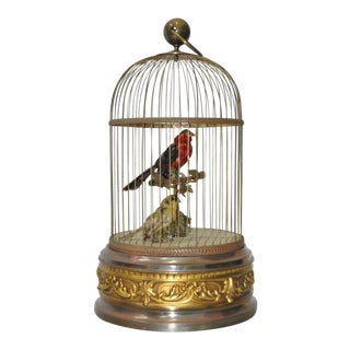 French Antique Mechanical Bird Cage With Singing Birds