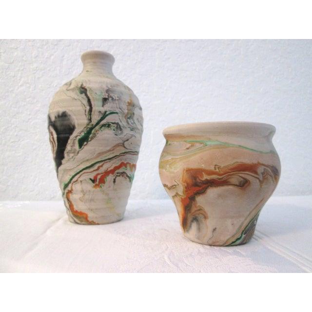 Nemadji Swirl Pottery Vessels - Pair - Image 3 of 11