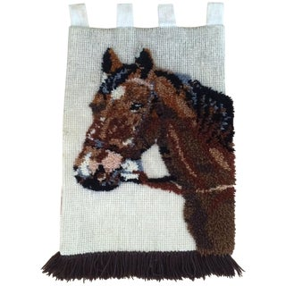 Vintage Yarn Horse Wall Hanging Textile