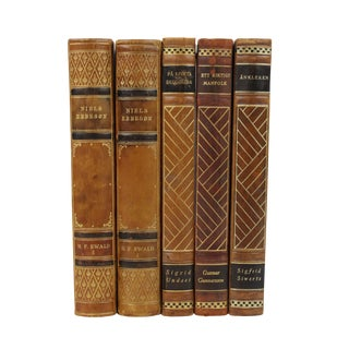 Art Deco Leather Bound Books - Set of 5