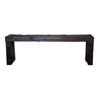 Japanese Yakisugi Wood Parsons Bench Coffee Table 52""