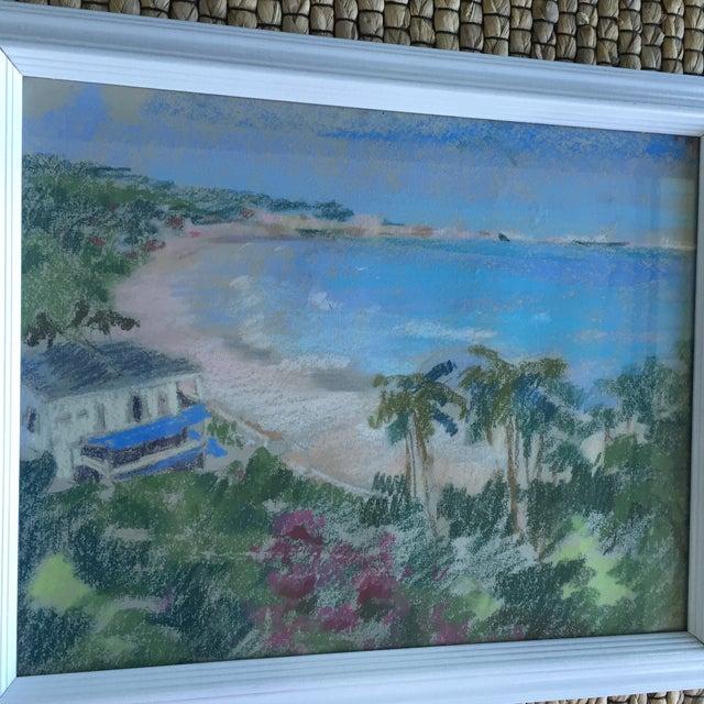 Original Oil Pastel Carribean Coastal Seascape Framed Art - Image 5 of 10
