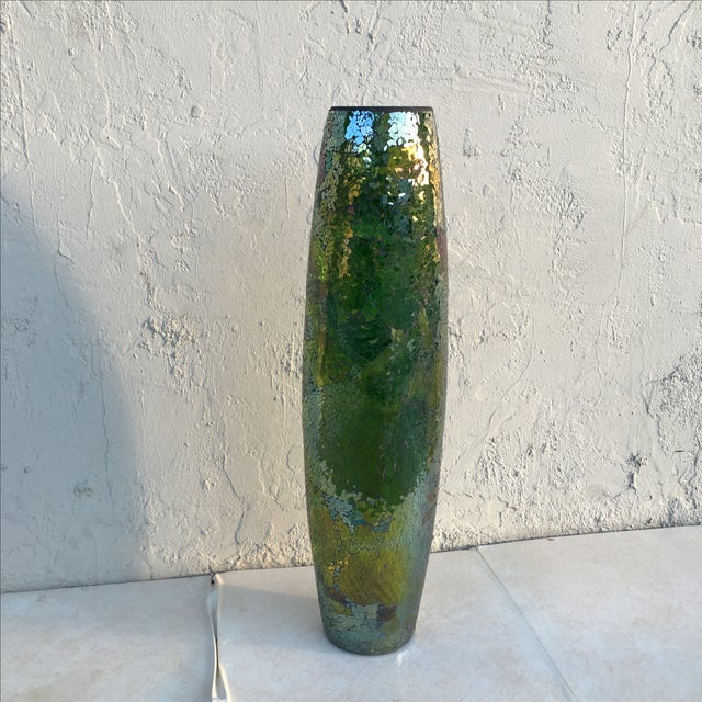 Tall Crackle Glass Vase - Image 3 of 10
