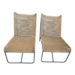 Handcrafted Rope and Iron Chairs - A Pair