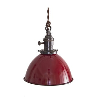 Brass Switch Socket Pendant Light - Red Dome Shade