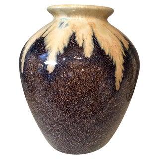 Brown & Ivory Glazed Pottery Vase