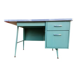 Steelcase Blue Teachers Locking 3 Drawer Desk
